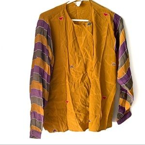 Vintage Alfred Sung Gold and Purple Silk Top
